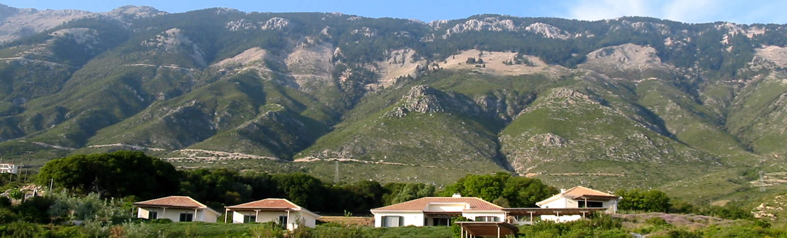 Villa Lefka with Mount Ainos in the background